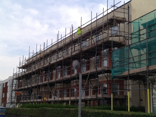 Scaffolding erected to a block of flats in Preston to allow for refurbishment of the exterior