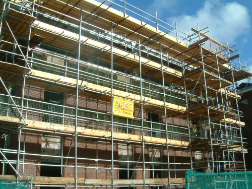 Access scaffolding erected to office buildings in Preston, Lancashire