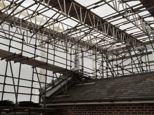 Large temporary roof to enable the conversion of a single storey to two floors at a Preston property